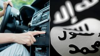 A man turns on his car radio and a generic picture of IS flag collaged