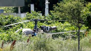 A French helicopter Alouette II abandoned by French armed robber Redoine Faid after his escape from prison in Reau