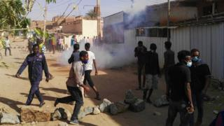 "Sudanese protesters in the capital Khartoum""s district of Burri on 24 February"