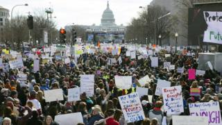 Thousands of people gather for March For Our Lives on Pennsylvania Avenue in Washington, DC, USA