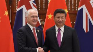Malcolm Turnbull and Xi Jinping shake hands