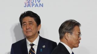 일본 오사카에서 열린 G20에서 만난 한일 정상