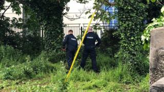 Searches are being carried out at the scene