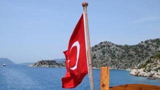 Turkey flag on boat