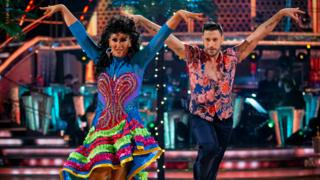 Michelle Visage and Giovanni Pernice performing the Salsa to Quimbara by Johnny Pacheco and Celia Cruz last weekend