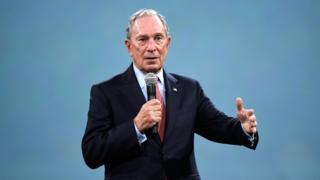 : Michael Bloomberg speaks on stage at a benefit event in New York in 2018