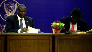 Riek Machar and Salva Kiir sign a power-sharing agreement
