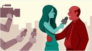 Ilustrasi pelecehan seksual pada wartawan perempuan.