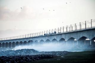 The Great Belt Bridge is seen after traffic has been closed in both directions due to a train accident in Denmark, January 2, 2019.