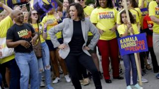 Kamala Harris dances at the Polk County Steak Fry