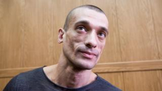 Petr Pavlensky attends a hearing at Moscow's Meshchansky district court on 18 May 2016.