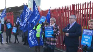 Teachers on strike outside St Patrick's Primary School in north Belfast