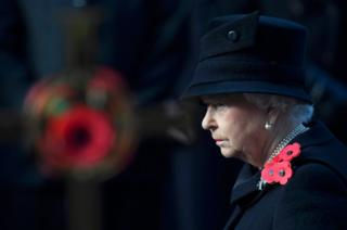 Britain's Queen Elizabeth takes part in the Remembrance Sunday ceremony at the Cenotaph in Westminster