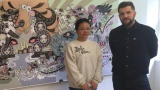 Artist Junko Mizuno and senior lecturer Dwayne Bell