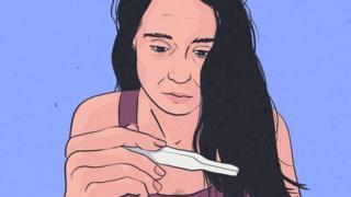 Ilustração de mulher vendo resultado de teste de gravidez