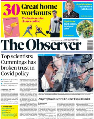 The Observer front page 31 May