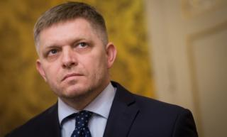 Slovak Prime Minister Robert Fico looks on during a press conference in Bratislava on March 14, 2018.