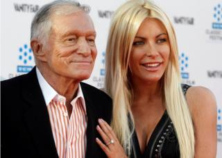 Hugh Hefner and his then fiancee, Playboy Playmate Crystal Harris, in 2011
