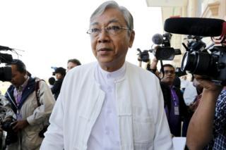新大統領に選出されたティン・チョー氏(写真は先月1日、首都ネピドーの議事堂前で)