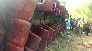 The scene of a bus crash in western Kenya, 10 October 2018