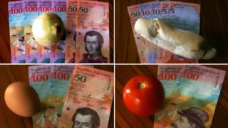 Images showing how much basic foodstuffs cost in Venezuela