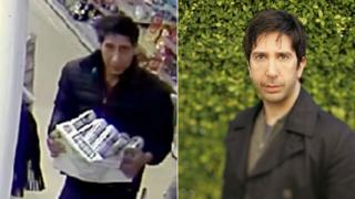 A CCTV image of the suspect next to an image of actor David Schwimmer
