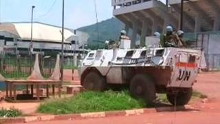 Still image from video shows UN troops in Bangui, Central African Republic - 29 September 2015
