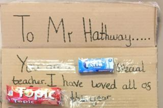 First part of the creation which reads: To Mr Hathway.... You are a EXTRA special teacher. I have loved all of TOPIC this year.