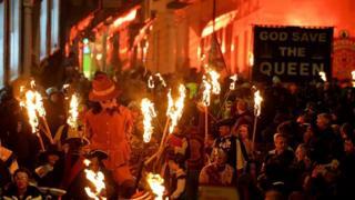Lewes Bonfire celebrations in 2013