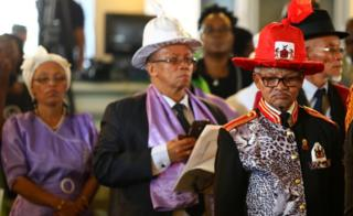 Members of Namibia's delegation at a service to return human remains in Berlin, Germany - Wednesday 29 August 2018