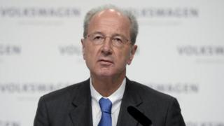 Volkswagen chairman Hans Dieter Poetsch makes a statement during a news conference in Wolfsburg, Germany