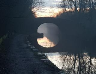 Reflection of a bridge in water