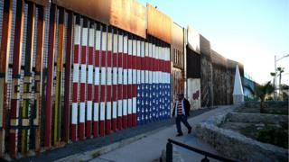 The US-Mexican border fence at Playas de Tijuana, Mexico, 27 January 2017