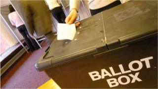 Ballot box in polling station
