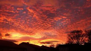 Deep red skies