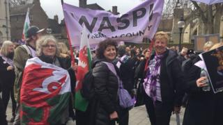 WASPI members protesting in London