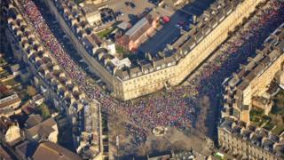 An aerial view of the 2016 Bath Half Marathon