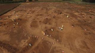 A view from a drone of the excavation site