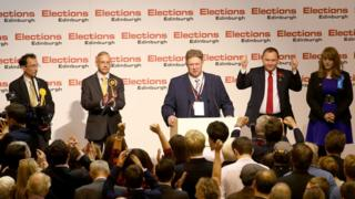 Alan Beale (Lib Dems) Jim Eadie (SNP) with Ian Murray and Stephanie Smith (Cons) on the podium in Edinburgh South