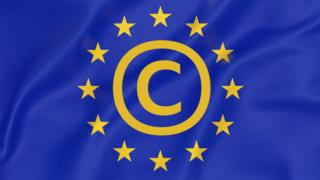 A composite image shows the EU flag, with a copyright symbol embedded in the centre of its iconic ring of yellow stars