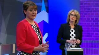 Leanne Wood and presenter Bethan Rhys Roberts