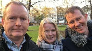 Peter Allen (izquierda) tiene la enfermedad de Huntington y sus hijos, Sandy (centro) y Frank (derecha), también poseen el gen. (Foto: James Gallagher)