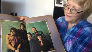 Janet Mason with her signed picture of The Love Affair