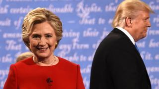 Hillary Clinton e Donald Trump no primeiro debate presidencial.