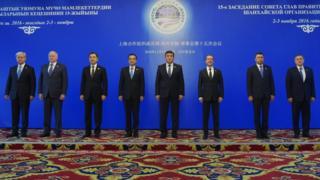 3 Kasım'da Kırgızistan'ın başkenti Bişkek'te gerçekleşen Şanghay İşbirliği Örgütü toplantısına katılan liderler.