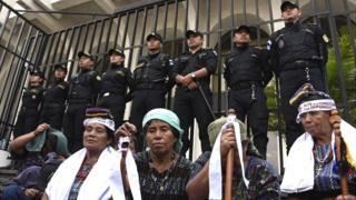 Indígenas guatemaltecas en una protesta.