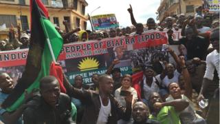 Pro Biafra protesters in southern Nigeria on Sunday 8 November, 2015
