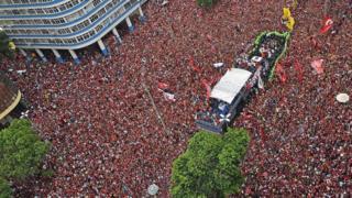Football Crowds welcome the Flamengo team in Rio. 24 Nov 2019