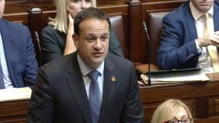 Taoiseach Leo Varadkar wears a 'Shamrock Poppy' in parliament in Dublin. Photo: 7 November 2017