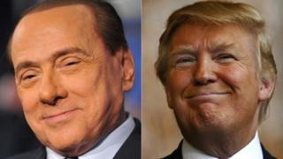 İtalya'nın gaflarıyla ünlü eski başbakanı Silvio Berlusconi (solda) ve ABD'nin yeni başkanı Donald Trump